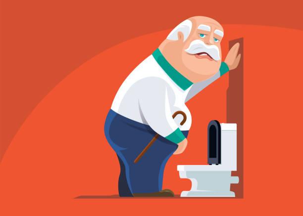 Elderly Man with Overactive Bladder Cartoon